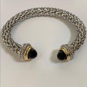 Juvell 18K Plated Black Topaz Mesh Cuff Bracelet